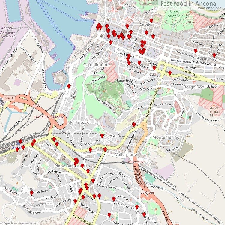 Fast food Ancona - map of restaurants