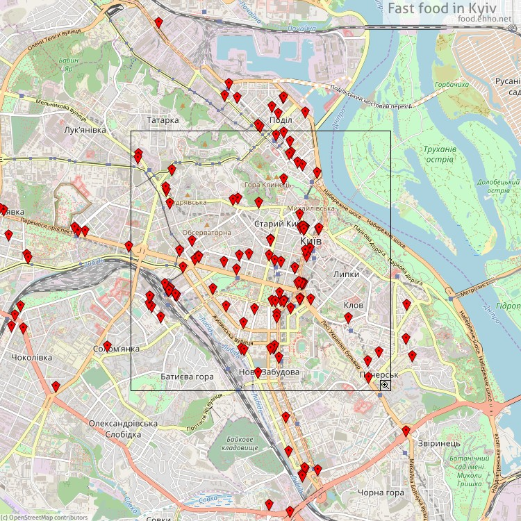 Fast food Kyiv - map of restaurants