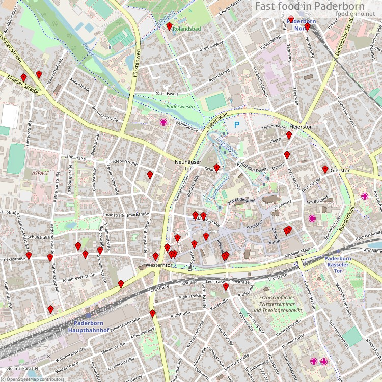 Karte Paderborn.Fast Food Paderborn Karte
